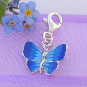 STERLING SILVER 13mm BLUE BUTTERFLY CLIP ON CHARM - 925-122-1068-218BLUE
