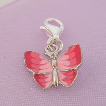 STERLING SILVER 13mm PINK BUTTERFLY CLIP ON CHARM - 925-122-1068-218PINK