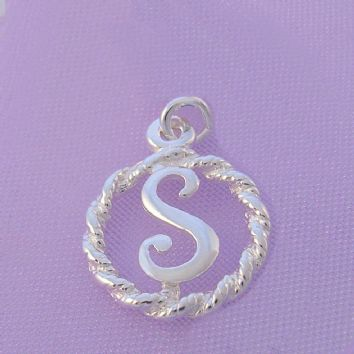 STERLING SILVER 12mm ALPHABET INITIAL TRADITIONAL CHARM LETTER S