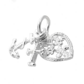 STERLING SILVER FAITH HOPE CHARITY TRADITIONAL CHARM