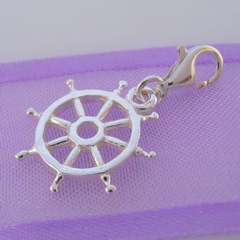 STERLING SILVER SHIP BOAT WHEEL CLIP ON CHARM - HR1969