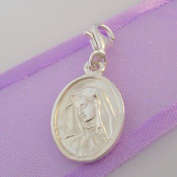 STERLING SILVER 12mm MADONNA VIRGIN MARY CLIP ON CHARM - HR2107