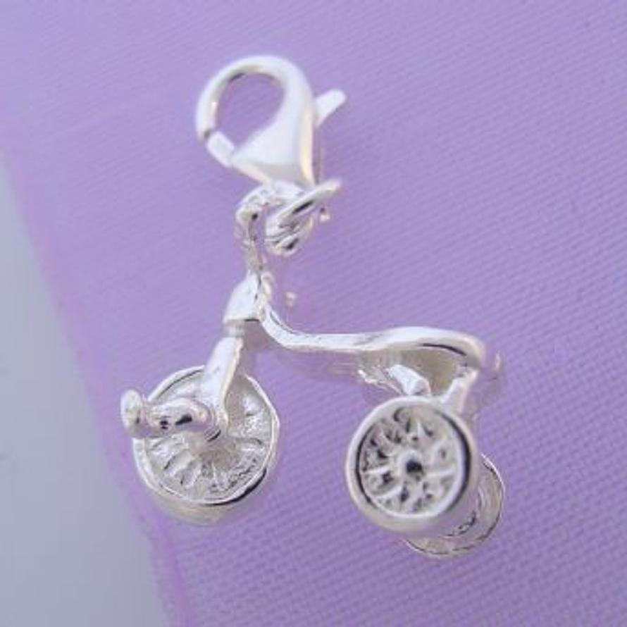 STERLING SILVER CHILDRENS TRICYCLE BIKE CLIP ON CHARM -HR537