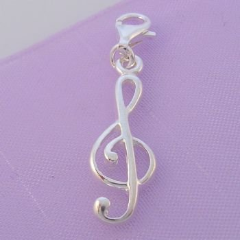 STERLING SILVER 8mm x 24mm MUSIC TREBLE CLIP ON CHARM HR60