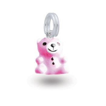 MY LITTLE ANGEL BABYLINKS TEDDY BEAR BEAD CHARM PINK -BLP-BEAR