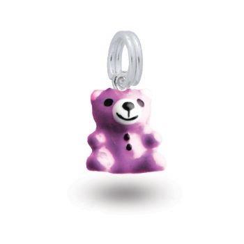 MY LITTLE ANGEL BABYLINKS TEDDY BEAR BEAD CHARM PURPLE -BLPU-BEAR