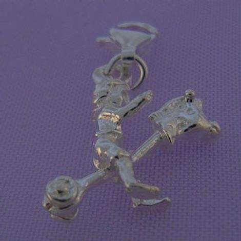 STERLING SILVER LITTLE BOY & HOBBY HORSE CLIP ON CHARM -HR1606