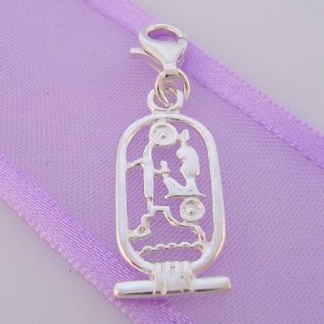 STERLING SILVER EGYPTIAN CARTOUCHE' CLIP ON CHARM - HR1845