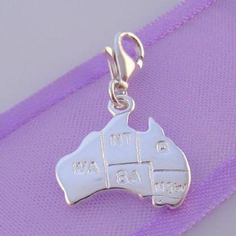 STERLING SILVER 15mm MAP OF AUSTRALIA CLIP ON CHARM - HR2417