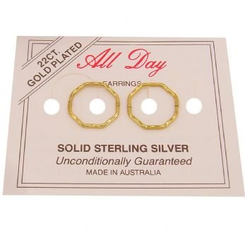 OCTAGONAL 12mm 22ct Gold Plated HINGED SLEEPER EARRINGS