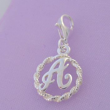 STERLING SILVER 12mm ALPHABET INITIAL CLIP ON CHARM LETTER A -CH-SS-HR1171-A