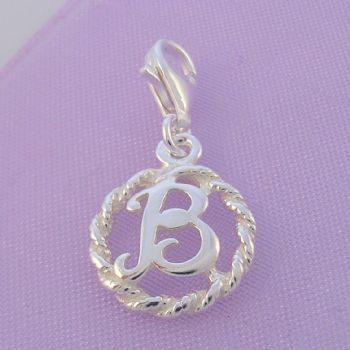 STERLING SILVER 12mm ALPHABET INITIAL CLIP ON CHARM LETTER B -CH-SS-HR1171-B