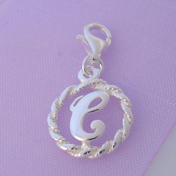 STERLING SILVER 12mm ALPHABET INITIAL CLIP ON CHARM LETTER C -CH-SS-HR1171-C