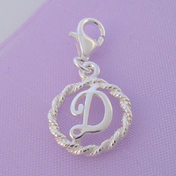 STERLING SILVER 12mm ALPHABET INITIAL CLIP ON CHARM LETTER D -CH-SS-HR1171-D