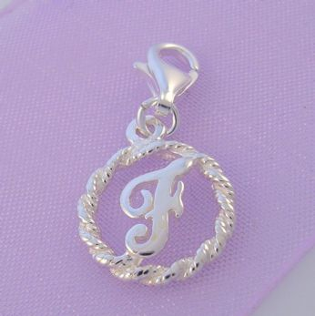STERLING SILVER 12mm ALPHABET INITIAL CLIP ON CHARM LETTER F -CH-SS-HR1171-F