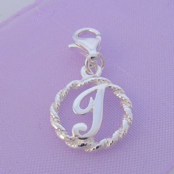 STERLING SILVER 12mm ALPHABET INITIAL CLIP ON CHARM LETTER J -CH-SS-HR1171-J