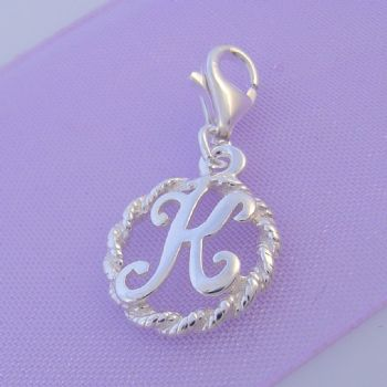 STERLING SILVER 12mm ALPHABET INITIAL CLIP ON CHARM LETTER K -CH-SS-HR1171-K