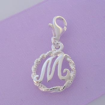 STERLING SILVER 12mm ALPHABET INITIAL CLIP ON CHARM LETTER M -CH-SS-HR1171-M
