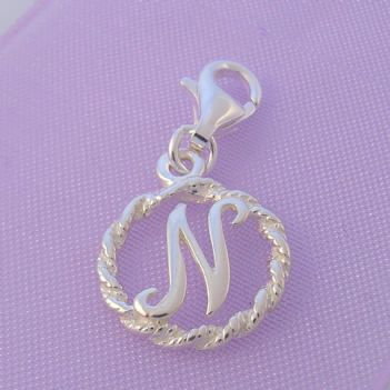 STERLING SILVER 12mm ALPHABET INITIAL CLIP ON CHARM LETTER N -CH-SS-HR1171-N