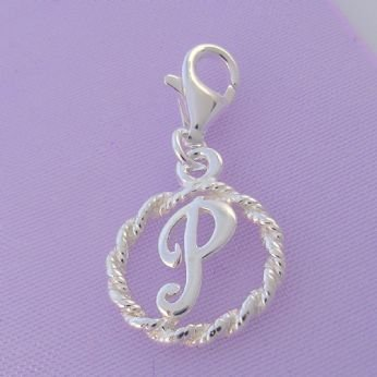 STERLING SILVER 12mm ALPHABET INITIAL CLIP ON CHARM LETTER P -CH-SS-HR1171-P