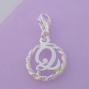 STERLING SILVER 12mm ALPHABET INITIAL CLIP ON CHARM LETTER Q -CH-SS-HR1171-Q