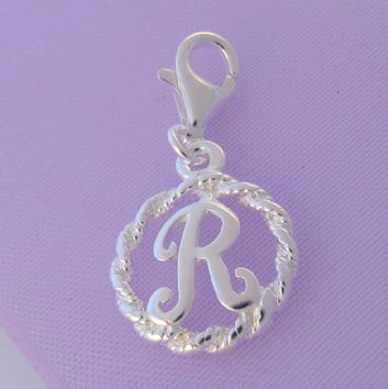 STERLING SILVER 12mm ALPHABET INITIAL CLIP ON CHARM LETTER R -CH-SS-HR1171-R