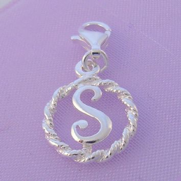STERLING SILVER 12mm ALPHABET INITIAL CLIP ON CHARM LETTER S -CH-SS-HR1171-S