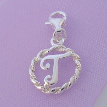 STERLING SILVER 12mm ALPHABET INITIAL CLIP ON CHARM LETTER T -CH-SS-HR1171-T