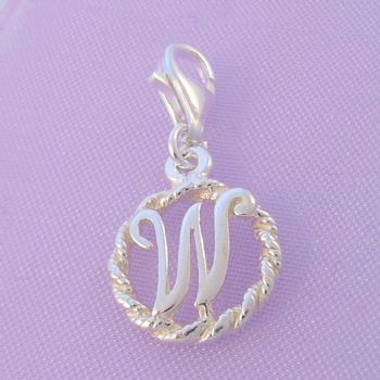 STERLING SILVER 12mm ALPHABET INITIAL CLIP ON CHARM LETTER W -CH-SS-HR1171-W