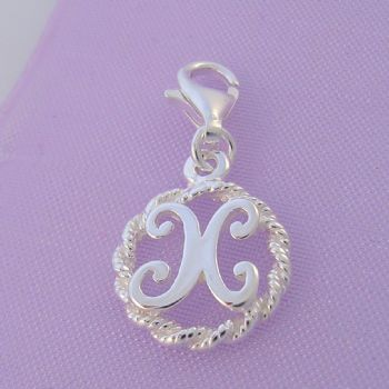 STERLING SILVER 12mm ALPHABET INITIAL CLIP ON CHARM LETTER X -CH-SS-HR1171-X