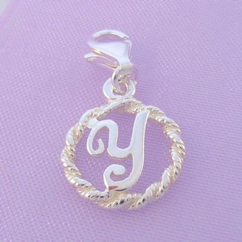 STERLING SILVER 12mm ALPHABET INITIAL CLIP ON CHARM LETTER Y -CH-SS-HR1171-Y