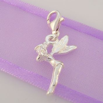 STERLING SILVER TINKERBELL FAIRY CLIP ON CHARM - HR1032