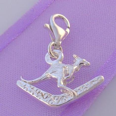 STERLING SILVER KANGAROO & BOOMERANG CLIP ON CHARM - HR2249