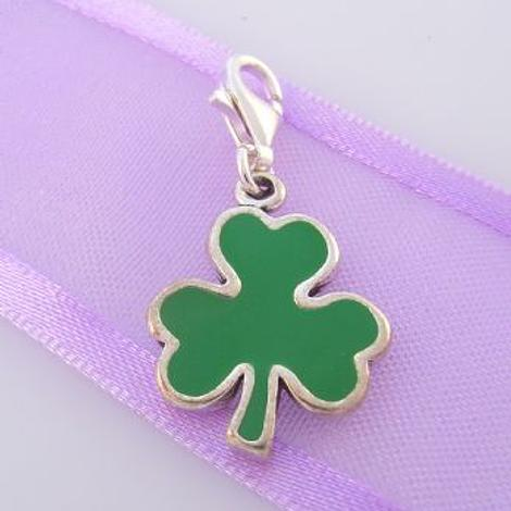 STERLING SILVER GOOD LUCK SHAMROCK CLOVER CLIP ON CHARM - TI-02057