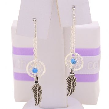 STERLING SILVER BABY DREAMCATCHER THREAD EARRINGS