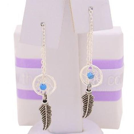 STERLING SILVER SMALL DREAMCATCHER THREAD EARRINGS