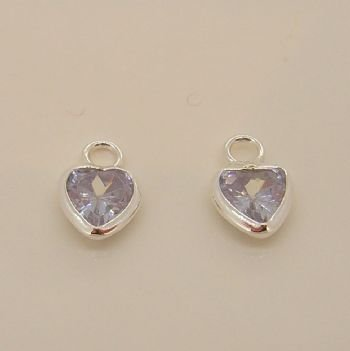 STERLING SILVER 5mm LILAC CZ HEART SLEEPER CHARMS -C-SS-5mmCZheart-lilac
