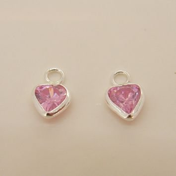 STERLING SILVER 5mm PINK CZ HEART SLEEPER CHARMS -C-SS-5mmCZheart-pink