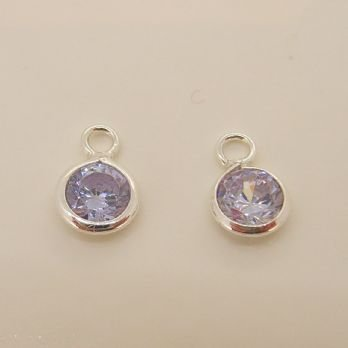 STERLING SILVER 5mm LILAC CZ ROUND SLEEPER CHARMS -C-SS-5mmCZround-lilac