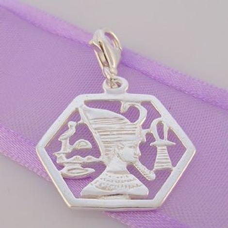 STERLING SILVER EGYPTIAN PHARAOH ANKH CLIP ON CHARM - HR1863