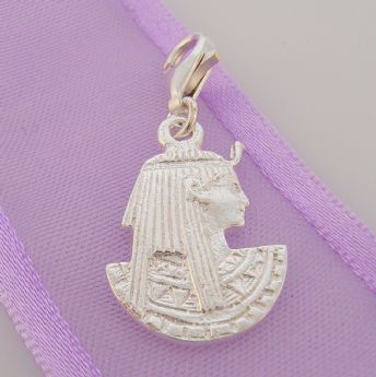 STERLING SILVER EGYPTIAN QUEEN NEFERTITI CLIP ON CHARM - HR2553