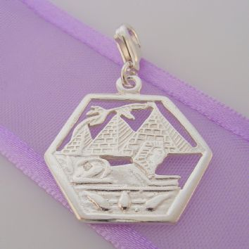 STERLING SILVER EGYPTIAN SPHINX PYRAMIDS CLIP ON CHARM - HR2608