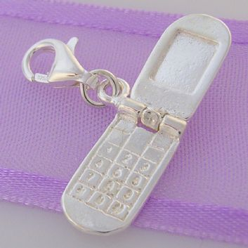 STERLING SILVER MOBILE FLIP CELL PHONE CLIP ON CHARM - HR3412
