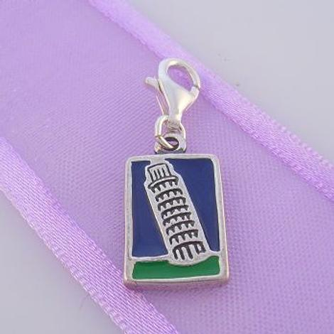 STERLING SILVER LEANING TOWER PISA POSTCARD CLIP ON CHARM - TI-03860