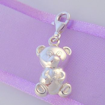 STERLING SILVER 3D 10x19mm TEDDY BEAR CLIP ON CHARM - TP899782