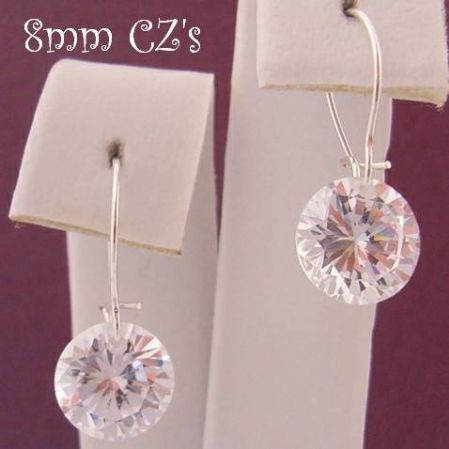 STERLING SILVER 8MM CZ DROP SAFETY HOOK EARRINGS