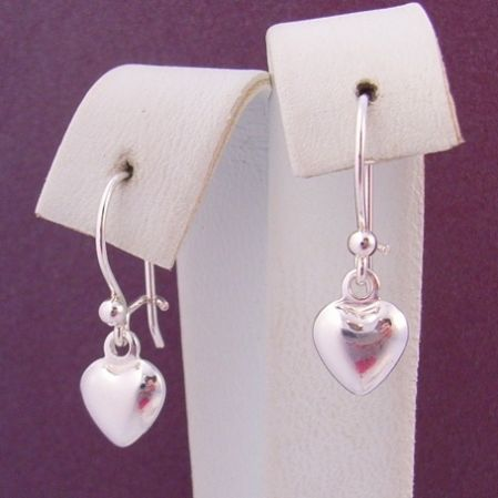 STERLING SILVER 6mm HEART CHARM BALL and SAFETY HOOK EARRINGS