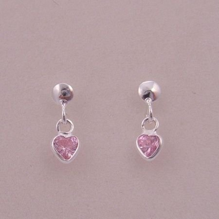 BABY STERLING SILVER PINK 4mm CZ HEART CHARM STUD EARRINGS