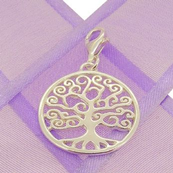 STERLING SILVER 20mm FAMILY TREE OF LIFE CLIP ON CHARM PENDANT - KB123-PCT-SS