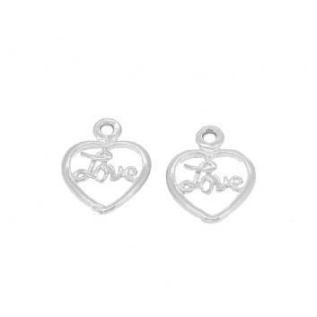 STERLING SILVER TWO 8mm LOVE in a HEART CHARMS for SLEEPER EARRINGS